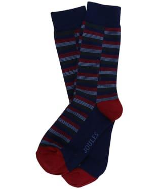 Men's Joules Striking Single Socks - Blue / Red Stripe