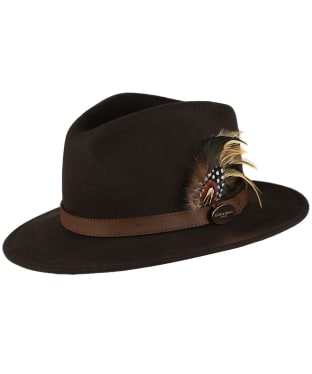 Women's Hicks & Brown The Suffolk Fedora - Guinea and Pheasant Feather