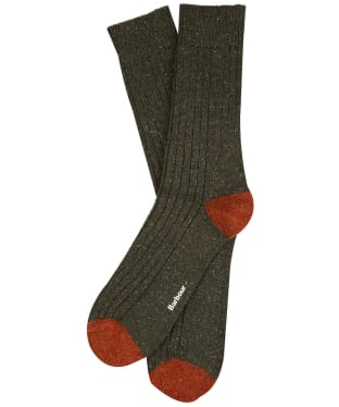 Men's Barbour Houghton Socks - Olive / Burnt Orange
