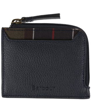 Women's Barbour Leather Coin Card Purse - Navy