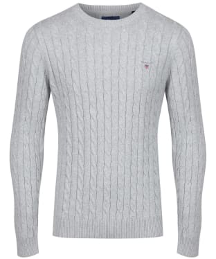 Men's GANT Cotton Cable Crew Sweater - Light Grey Melange