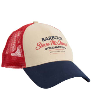 Men's Barbour International Steve McQueen Trucker Cap - Navy / Red / Stone