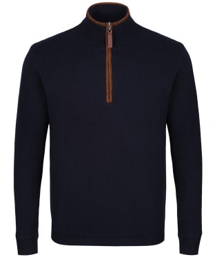 Men's Schoffel Lambswool Aerobloc 1/4 Zip Jumper - Navy