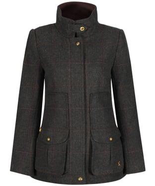 Women's Joules Fieldcoat Tweed Jacket - Dark Green Tweed