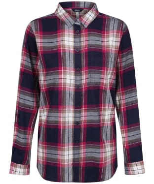 Women's Joules Lorena Longline Brushed Shirt - Berry Check