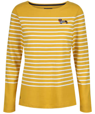Women's Joules Harbour Embroidered Top - Gold Stripe Dog