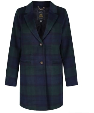Women's Joules Costello Check Coat - Navy Check