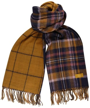 Women's Joules Upton Reversible Scarf - Navy / Yellow Check