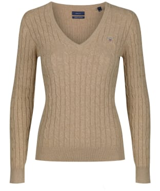 Women's Gant Stretch Cotton Cable V-Neck - Sand Melange