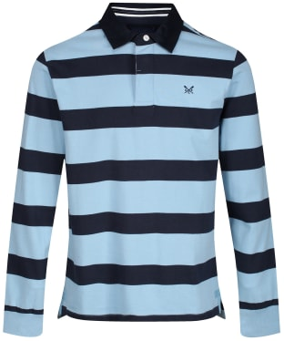 Men's Crew Clothing Long Sleeve Rugby Shirt - Ice Blue / Navy