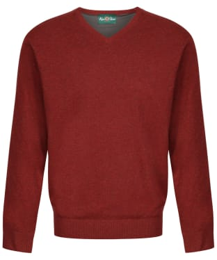 Men's Alan Paine Shenstone Vee Neck Windblock Sweater - Redwood