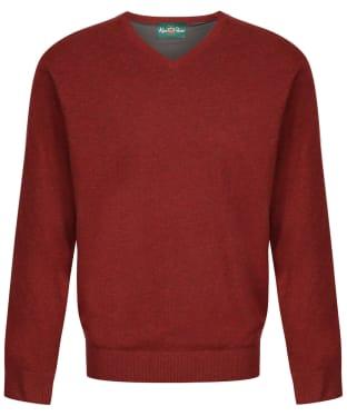 Men's Alan Paine Shenstone Vee Neck Windblock Sweater - Redwood