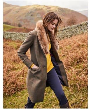 Women's Joules Langley Tweed Coat - Green Tweed