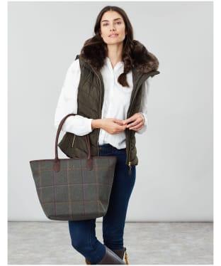 Women's Joules Fernwell Tweed Large Tote Bag - Dark Green Grid Tweed