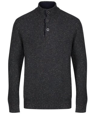 Men's Schoffel Lambswool Chunky Button Neck Sweater - Charcoal Fleck