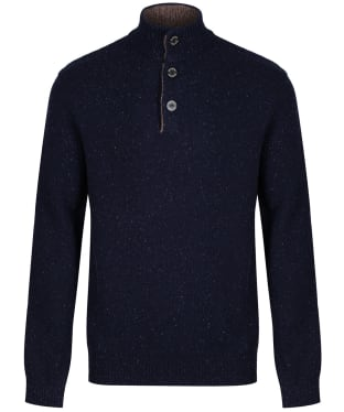 Men's Schoffel Lambswool Chunky Button Neck Sweater - Navy Fleck