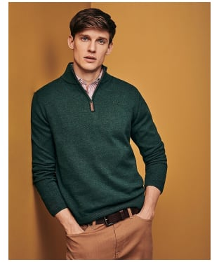 Men's Crew Clothing Half Zip Knitted Sweater - Ivy Green Marl