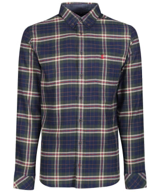 Men's Joules Buchanan Peached Poplin Shirt - Green / Navy Check