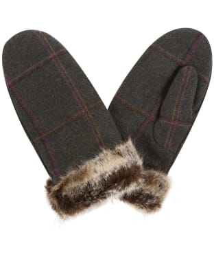 Women's Joules Chiltern Tweed Mittens - Dark Green Grid Tweed