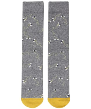 Women's Joules Christmas Bamboo Single Socks - Grey Xmas Bee