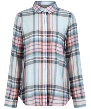Women's Joules Lorena Longline Brushed Shirt - Blue Check