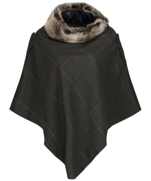 Women's Joules Hazelwood Tweed Poncho - Dark Green Grid Tweed