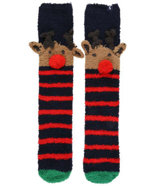 Women's Joules Christmas Fluffy Socks - Navy Reindeer