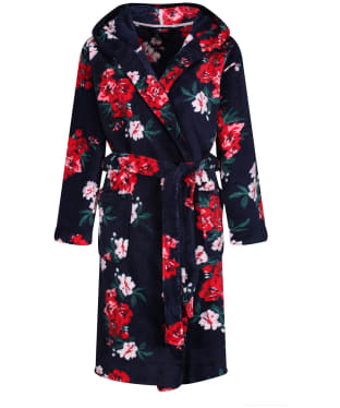 Women's Joules Rita Fluffy Dressing Gown - Navy Floral