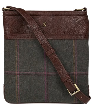 Women's Joules Uxhall Cross Body Bag - Dark Green Grid Tweed