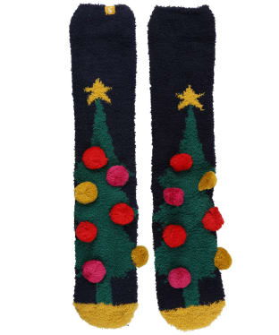 Women's Joules Christmas Fluffy Socks - Navy Xmas Tree