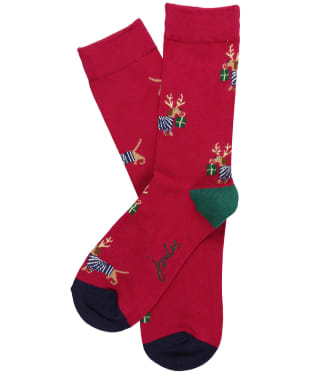 Women's Joules Christmas Bamboo Single Socks - Purple Xmas Dog