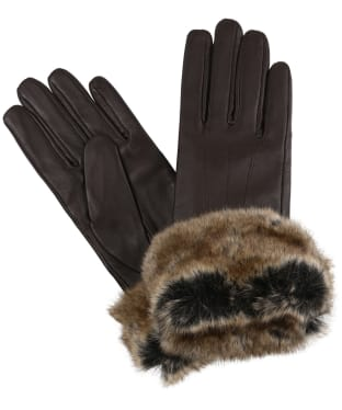 Women's Barbour Fur Trimmed Leather Gloves - Dark Brown