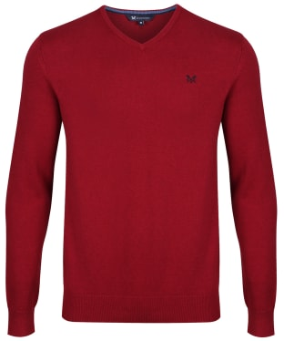 Men's Crew Clothing Foxley V-Neck Sweater - Brick Red Marl