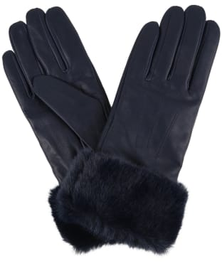 Women's Barbour Fur Trimmed Leather Gloves - Navy