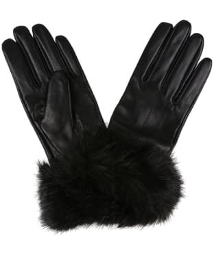 Women's Barbour Fur Trimmed Leather Gloves