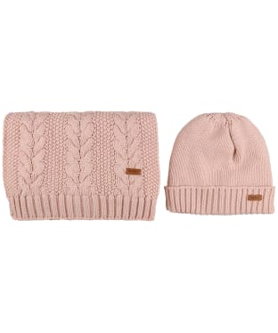 Women's Barbour Cable Knit Hat and Scarf Set - Pink