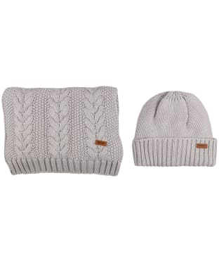 Women's Barbour Cable Knit Hat and Scarf Set - Ice White