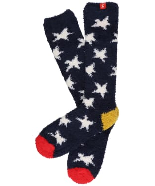 Women's Joules Fabulously Fluffy Socks - Navy Winter Star