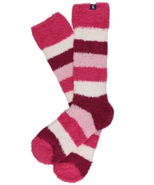 Women's Joules Fabulously Fluffy Socks - Pink Block Stripe