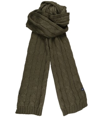 Men's Crew Clothing Wool Blend Cable Scarf - Peat Marl