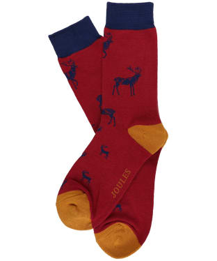 Men's Joules Striking Single Socks - Red/Navy Stag