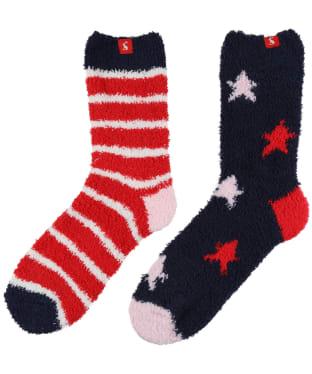 Women's Joules Fabulously Fluffy Shorties Socks - Navy Multi Stripe