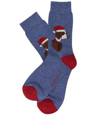 Men's Joules Striking Christmas Socks - Blue Xmas Dog