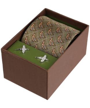 Men's Soprano Green Pheasant Tie and Cufflink Set