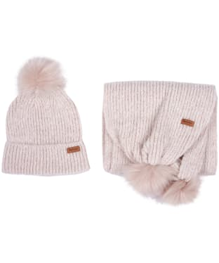 Women's Barbour Pom Beanie and Scarf Set - Soft Pink