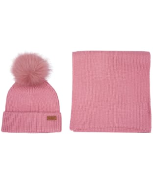 Women's Barbour Dover Beanie and Scarf Set - Blush Pink