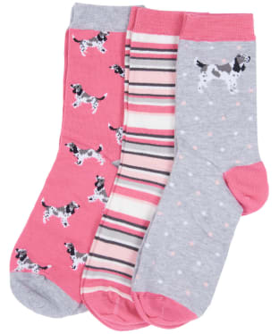 Women's Barbour Spaniel Sock Set - Pink / Taupe