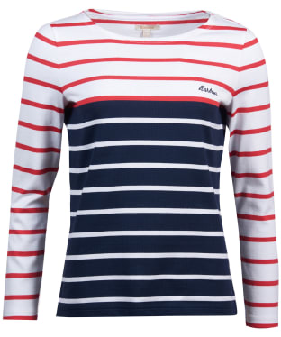 Women's Barbour Hawkins Breton Stripe Top - White / Brick Red