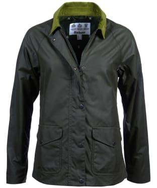 Women's Barbour Clifftop Waxed Jacket - Duffle Green
