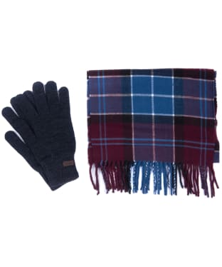 Men's Barbour Tartan Scarf and Glove Set - Merlot / Charcoal